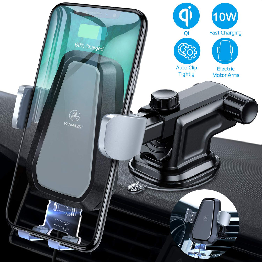 Wireless Car Charger 10W Fast Charging /& Standard 5W Charger Auto-Clamp Qi Car Mount Windshield Dashboard Air Vent Phone Holder Compatible with iPhone X//8//8 Plus Samsung Note 9,S9 S8