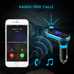 ENTREGA: 10 A 15 DIAS SOONHUA Car Bluetooth FM Transmitter, Wireless in-Car Radio Bluetooth Adapter 5in1 Car Kit Music Player Hand-Free Calling with Remote AUX Cable Dual USB Support SD/TF Card for iPhone Samsung (Blue)