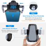 VANMASS Wireless Car Charger Mount, Automatic Clamping Qi 10W 7.5W Fast Charging 5W Car Mount, Windshield Dashboard Air Vent Phone Holder Compatible with iPhone Xs Max XR 8, Samsung S10 S9 S8 Note 9