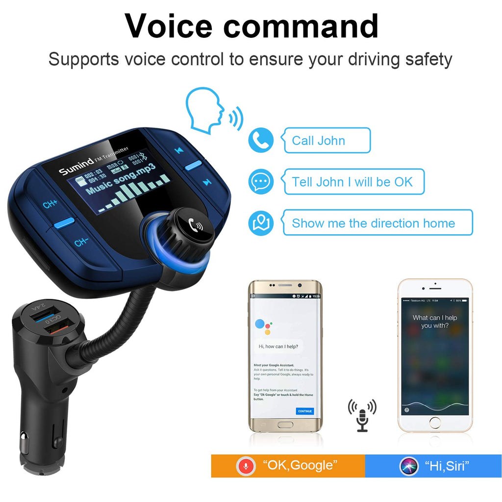 Upgraded Version Blue Wireless Radio Adapter Hands-Free Kit with 1.7 Inch Display Sumind Car Bluetooth FM Transmitter TF Card Mp3 Player QC3.0 and Smart 2.4A USB Ports AUX Input//Output