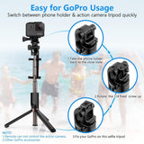 Selfie Stick Bluetooth, KUSKY 4-in-1 Extendable Selfie Stick Tripod with Wireless Remote Shutter for iPhone X/8/8P/7/7P/6s/6P, Galaxy S9/S9 Plus/S8/S7/ S6/S5/Note 8, Google, Huawei and More (Black)