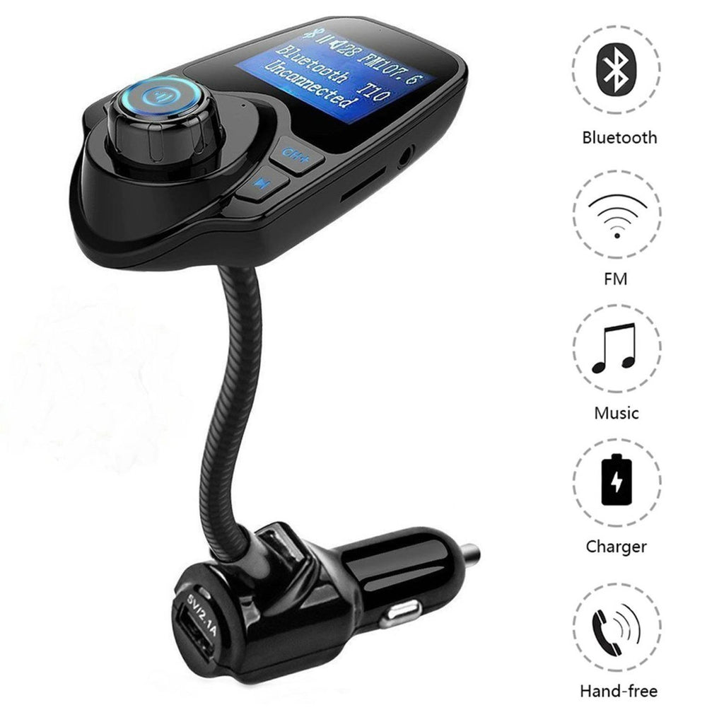 Bluetooth FM Transmitter Wireless In-Car Radio Adapter Hands