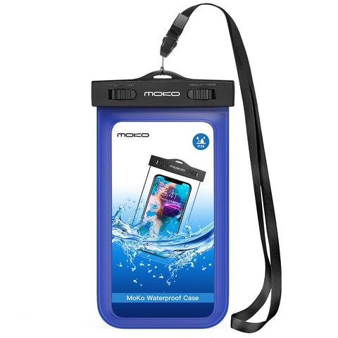 MoKo Waterproof Phone Pouch, Underwater Waterproof Cellphone Case Dry Bag with Lanyard Armband Compatible with iPhone X/Xs/Xr/Xs Max, 8/7/6s Plus, Samsung Galaxy S10/S9/S8 Plus, S10 e, S7 Edge, Blue