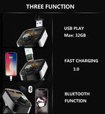 Bluetooth FM Transmitter for Car,Hands-Free Call Adapter,QC3.0 USB Fast Charger & USB Flash Reader Compatible for iPhone,Samsung,Most Smartphone