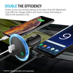 Quick Charge 2.0 Car Charger, Maxboost 30W USB Car Charger 2.4A with QC 2.0 MicroUSB Cable for Samsung Galaxy S9 S8 Plus/S7/S6/Edge/Note 5 8,HTC,LG G6 G5,Nexus 5X 6P, iPhone X 8 7 6 6S,iPad and More