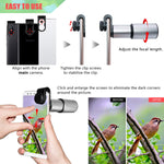 Cell Phone Lens, 16X Zoom Telephoto Lens, Aluminium Alloy HD Phone Camera Lens for iPhone, Samsung, Android Smartphone, Monocular Telescope (Silver)