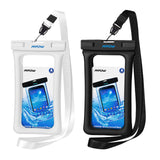 "Mpow 084 Waterproof Phone Pouch Floating, IPX8 Universal Waterproof Case Underwater Dry Bag Compatible iPhone Xs Max/Xr/X/8/8plus/7/7plus Galaxy s9/s8 Note 9/8 Google Pixel up to 6.5"" (White+Black)"