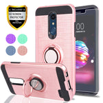 Ymhxcy for LG K30,LG Phoenix Plus,LG Premier Pro LTE,LG K10 2018 Case with HD Phone Screen Protector,360 Degree Rotating Ring & Bracket Dual Layer Resistant Back Cover for LG K10 2018-ZH Rose Gold