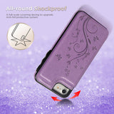 iPhone 7 Card Holder Case, iPhone 8 Wallet Case Embossed Butterfly Slim Folio Leather Cover Shockproof Shell with Credit Card Slot Protective Skin for iPhone 7 & 8, Purple