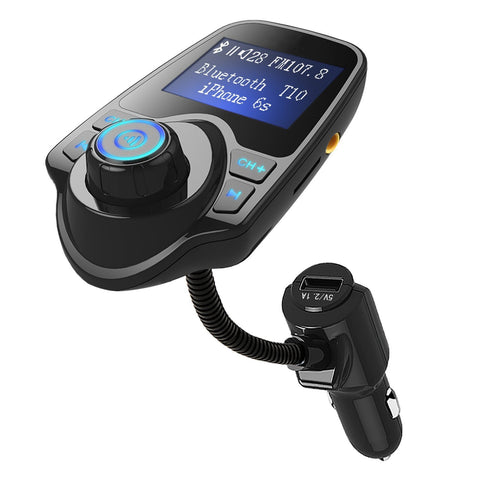 Bluetooth FM Transmitter Wireless In-Car Radio Adapter Hands-free Call Car Kit MP3 Player 3.4A Dual USB Car Charger with Display for iPhone iPad iPod Samsung Xiaomi Huawei(black) (FM Transmitter T10)