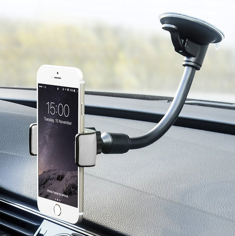 Car Mount, Universal Flexible Arm Windshield Car Phone Holder with Strong Suction Cup Compatible iPhone X SE 7 Plus 6s 6 Plus 6 5s 5 4s 4 Samsung Galaxy S9 Plus S8 Note S7 Edge LG Nexus Sony and More