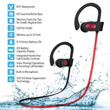 Mpow D3 Bluetooth Headphones with A1 Universal Phone Armband, IPX7 Waterproof Wireless Earphones, HD Stereo Sound 8-10H Battery Noise Cancelling Headsets, Wireless Sport Headphones for Running