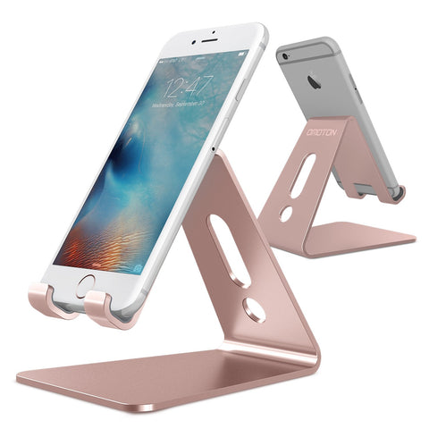OMOTON [Updated Solid Version] Desktop Cell Phone Stand Tablet Stand, Advanced 4mm Thickness Aluminum Stand Holder for Mobile Phone and Tablet (Up to 10.1 inch), Rose Gold