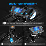 VicTsing (Upgraded Version) QC3.0 Bluetooth FM Transmitter for Car, Wireless Radio Adapter Hands-Free Car Kit with Power On/Off Switch and Large Display, Dual USB Ports, U Disk, TF Card MP3 Player