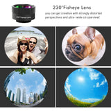 Jisusu for iPhone Lens, 0.45x Wide Angle Lens,230°Fisheye Lens & 12.5X Macro Lens (Screwed Together) 3 in1,Clips-On Cell Phone Lens Kit for iPhone/Samsung/Android/Most Smartphones and Tablets
