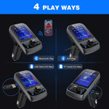 "FM Transmitter, Nulaxy 1.8"" Color Screen Bluetooth FM Transmitter Wireless In-Car Radio Adapter w/ Car Battery Voltage Reading, Handsfree Calling, USB Drive, TF Card, AUX, EQ Mode - KM34, Black"