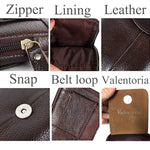 Valentoria Men's Belt Pouch Waist Fanny Packs Leather Purse Cellphone Holster Belt Waist Bag Pack for Phone and Money iPhone 7 Plus 6 Plus 8 Plus X Max Galaxy S8 S9 Plus S7 S6 Edge (Horizontal-Brown)