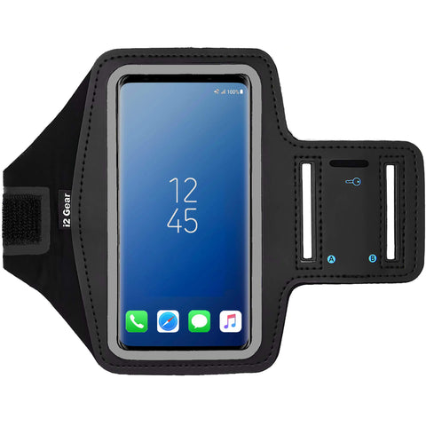 i2 Gear Cell Phone Armband Case for Running - Workout Phone Holder with Adjustable Arm Band and Reflective Border - Large Armband for iPhone X XS Galaxy S9, S8, S7, Edge, LG and Pixel 2, 3, Black