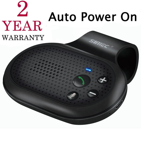 SUNITEC AUTO Power ON Bluetooth Handsfree Car Kit with Vibration Sensor for Hands-Free Call, Support GPS, Music, Wireless in Car Visor Speakerphone Kits for iPhone, Samsung and etc [2 Year Warranty]
