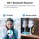 Mini Bluetooth Receiver, Areson 7 Hours Bluetooth Car Aux Adapter Audio Receiver Support TF Card & 3.5mm Wireless Hands-Free Car Kits Music Adapter for Home Stereo, Headphones, Speakers(Blue)