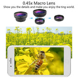 Cell Phone Camera Lens 2 in 1 Clip-on Lens Kit 0.45X Super Wide Angle & 12.5X Macro Phone Camera Lens for iPhone 8 7 6s 6 Plus 5s Samsung Android & Most Smartphones Black