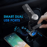 VicTsing Bluetooth FM Transmitter for Car, Wireless in-Car Radio Transmitter, Music Player Car Kit with Power Off, Stereo Sound, Hands-Free Calls and 2 USB Ports Support USB Flash Drive