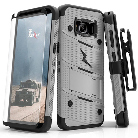 Zizo Bolt Series Compatible with Samsung Galaxy S8 Case Military Grade Drop Tested with Tempered Glass Screen Protector, Holster Gray Black