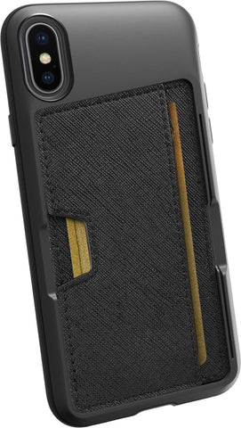 Silk iPhone X/XS Wallet Case - Wallet Slayer Vol. 2 [Slim Protective Kickstand] Credit Card Holder for Apple iPhone 10 - Black Tie Affair