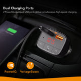 Roav by Anker, SmartCharge F0 FM Transmitter/Bluetooth Receiver/Car Charger with Bluetooth 4.2, 2 USB Ports, PowerIQ, and AUX Output (No Dedicated App)