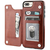 OT ONETOP iPhone 7 Plus iPhone 8 Plus Wallet Case with Card Holder, Premium PU Leather Kickstand Card Slots Case,Double Magnetic Clasp and Durable Shockproof Cover 5.5 Inch(Brown)