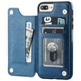 iPhone 7 Plus iPhone 8 Plus Wallet Case with Card Holder,OT ONETOP Premium PU Leather Kickstand Card Slots Case,Double Magnetic Clasp and Durable Shockproof Cover 5.5 Inch(Blue)