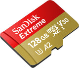 SanDisk 128GB Extreme microSDXC UHS-I Memory Card with Adapter - C10, U3, V30, 4K, A2, Micro SD - SDSQXA1-128G-GN6MA