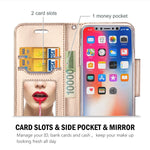 ProCase iPhone Xs/iPhone X Wallet Case, Flip Kickstand Case with Card Slots Mirror Wristlet, Folding Stand Protective Cover for 5.8 inch Apple iPhone Xs (2018) / iPhone X (2017) -Black