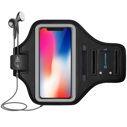 LOVPHONE iPhone X/XS Armband Sport Running Exercise Gym Sportband Case for iPhone X/iPhone Xs/Galaxy S10e 5.8 Inch,with Key Holder & Card Slot,Water Resistant and Sweat-Proof(Gray)