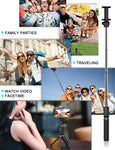 Yoozon Selfie Stick Bluetooth, Extendable Selfie Stick with Wireless Remote and Tripod Stand Selfie Stick for iPhone Xs MAX/XR/XS/X/8/8 Plus/7 Plus/Galaxy S9/S9 Plus/Note 8/S8/S8 Plus/More (Blue)
