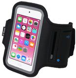 i2 Gear Running Exercise Armband for iPod Touch 6th and 5th Generation Devices with Reflective Border and Key Holder (Black)