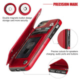 iPhone 8 Wallet Case with Card Holder,OT ONETOP iPhone 7 Case Wallet Premium PU Leather Kickstand Card Slots,Double Magnetic Clasp and Durable Shockproof Cover 4.7 Inch (iPhone 7/iPhone 8 Red)