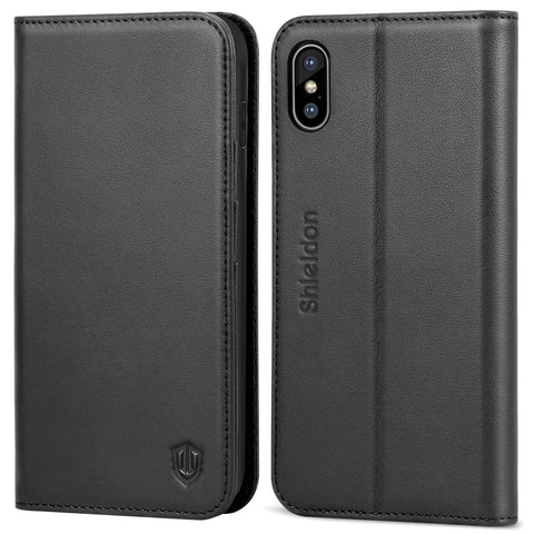 "iPhone Xs Max Case, SHIELDON Genuine Leather iPhone Xs Max Wallet Case [Auto Wake/Sleep] [RFID Blocking] Credit Card Slot Flip Magnetic Stand Case Compatible with iPhone Xs Max (6.5"" 2018) - Black"