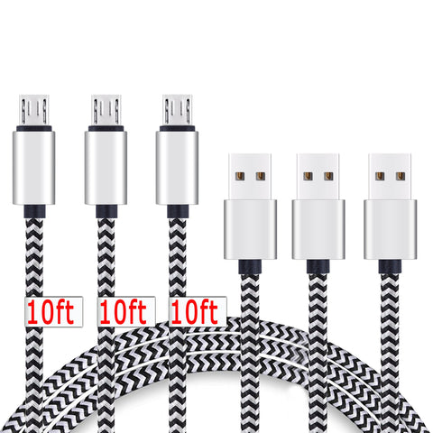 Micro USB Cable,[10ft3Pack] by Ailun,High Speed 2.0 USB A Male to Micro USB Sync & Charging Nylon Braided Cable for Android Smartphone Tablets Wall and Car Charger Connection[Silver&Blackwhite]