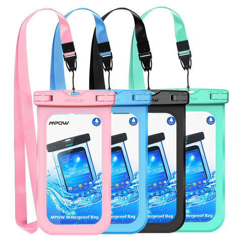 "Mpow Waterproof Phone Pouch, IPX8 Universal Waterproof Case Underwater Dry Bag 4-Pack Compatible for iPhone Xs Max/XS/XR/X/8, Galaxy S9/S9P/S8/Note 9/8, Google/HTC up to 6.5"" (Pink Blue Black Green)"