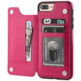 iPhone 7 Plus iPhone 8 Plus Wallet Case with Card Holder,OT ONETOP Premium PU Leather Kickstand Card Slots Case,Double Magnetic Clasp and Durable Shockproof Cover 5.5 Inch(Pink)