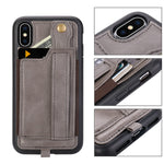 iPhone X/Xs Wallet Case Phone Lanyard Neck Strap TOOVREN iPhone Xs / 10 Protective Case Cover with Stand Leather PU Card Holder Adjustable Detachable iPhone Lanyard for Anti-Theft Gray