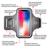 Water Resistant Cell Phone Armband- 5.7 Inch Case for iPhone 7 Plus, 6/6S Plus, S8, S7/S6 Edge, PIxel XL, All Galaxy Note Phones - Adjustable Reflective Velcro Workout Band & Screen Protector, Grey