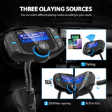 Bluetooth Fm Transmitter for car, Bluetooth Car Transmitter 1.7 Inch Display, QC3.0/2.4A Dual USB Ports, AUX Input/Output, Mp3 Player.