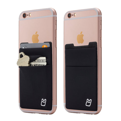 (Two) Stretchy Cell Phone Stick on Wallet Card Holder Phone Pocket for iPhone, Android and All Smartphones. (Black)