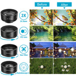 Phone Camera Lens,11 in 1 Cell Phone Lens Kit for iPhone and Android, 0.36X Wide Angle Lens+198°Fisheye Lens+20X Macro Lens+Zoom Telephoto Lens+CPL+Kaleidoscope Lens+Starburst Lens+4 Color Filter Lens
