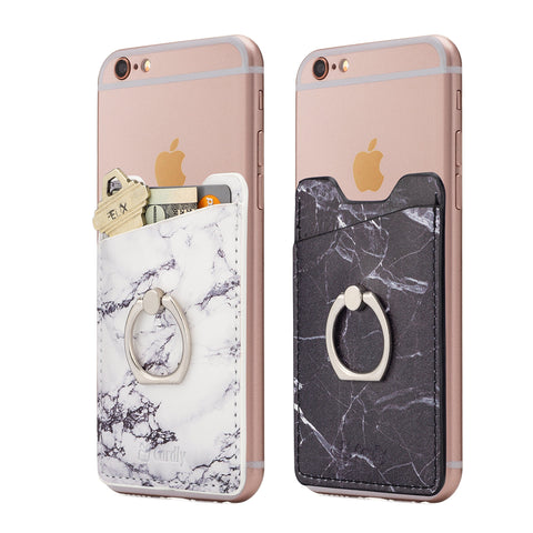 Cardly (Two) Finger Ring and Cell Phone Stick on Wallet Card Holder Phone Pocket for iPhone, Android and All Smartphones. (White & Black)