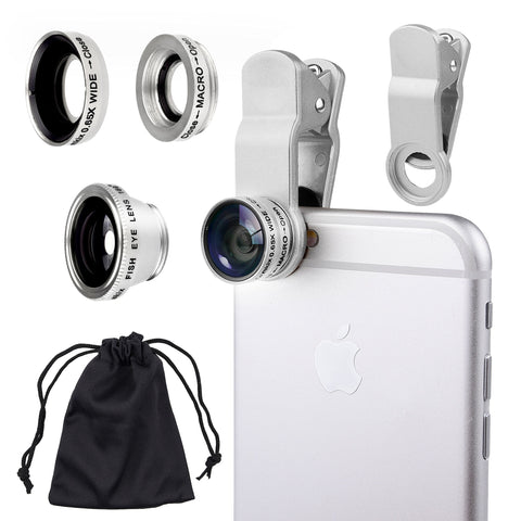 Universal 3 in 1 Camera Lens Kit for Smart phones (including iPhone, Samsung Galaxy, HTC, Motorola and More), Tablets, iPad, and Laptops includes One Fish Eye Lens / One 2 in 1 Macro Lens and Wide Angle Lens / One Universal Clip / One Microfiber Carrying