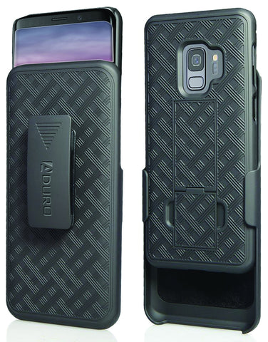 Aduro Galaxy S9 Case with Kickstand Belt Clip Holster, Combo Galaxy Case with Rotating Belt Clip Super Slim Shell Samsung Galaxy Belt Clip Case for Samsung Galaxy S9 (NOT PLUS) Cell Phone (2018) Black