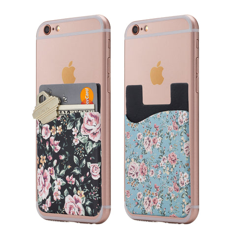 (Two) Floral Cell Phone Stick on Wallet Card Holder Phone Pocket for iPhone, Android and All Smartphones.